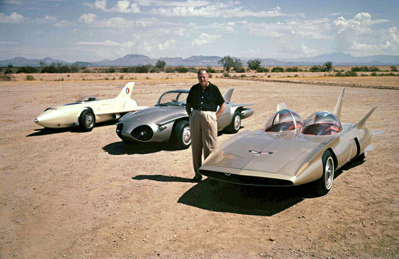1958- Harley Earl with  GM Firebirds I-II-III