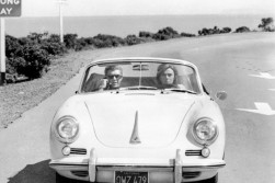 In a Porsche 356 with Jacqueline Bisset on the set of Bullitt