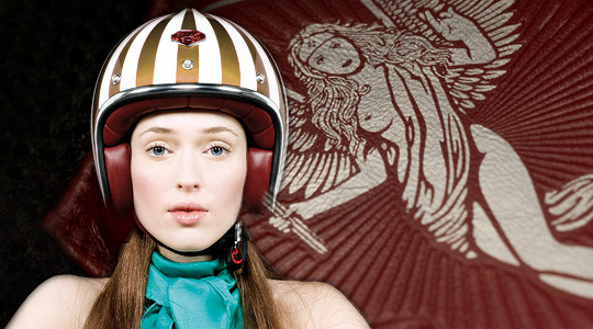 Ruby watches over you from the Helmets' leather lining