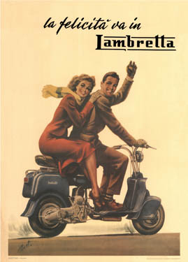 This early ad for Lambretta demonstrates that right from the start the scooter was tapped into the aesthetic of style