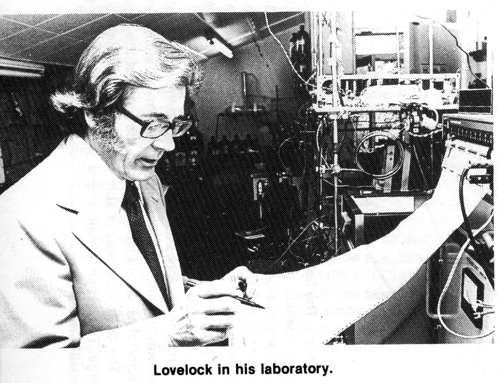 lovelock in his lab