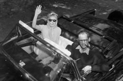 Playwright Arthur Miller and his blonde squeeze. And the T-Bird. Imagine the conversations!