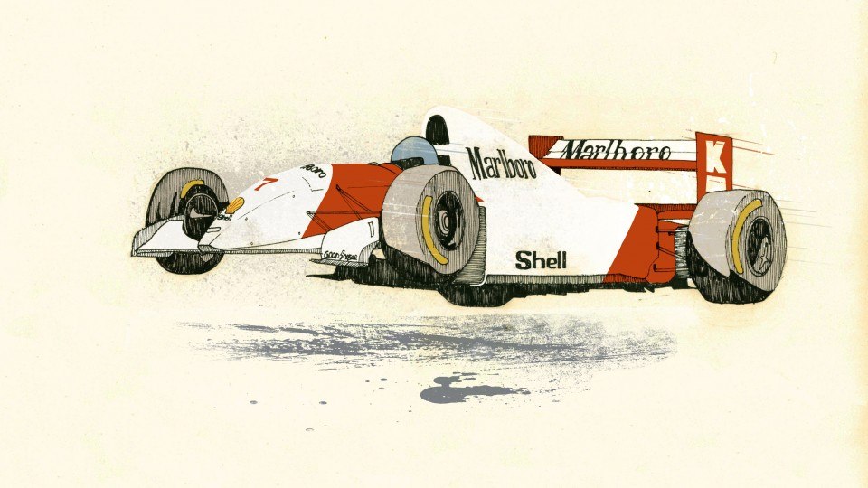 Mika Hakkinen gets air in his McLaren by Jess Douglas