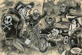 This street scene encompasses many obsessions of fifties hoodlums!
