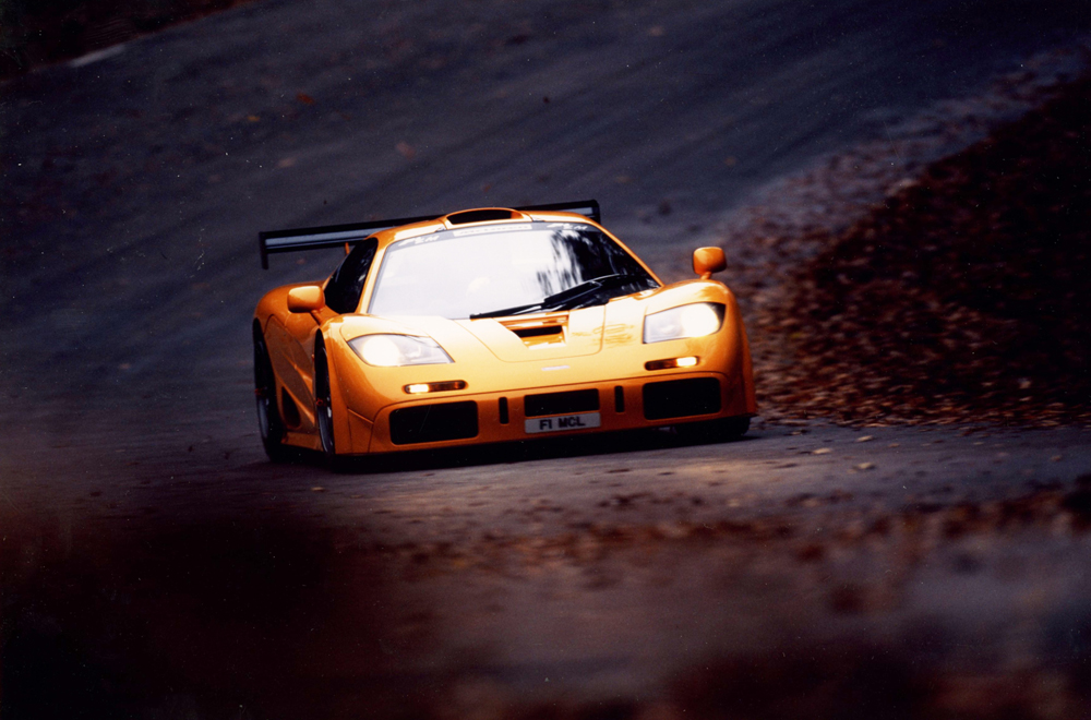 Possibly the greatest road car: the McLaren F1 wore its heritage on its panels...