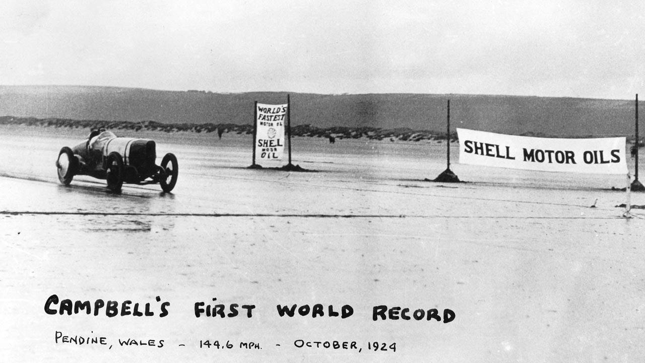 Malcolm Campbell set the pace at Pendine in 1924