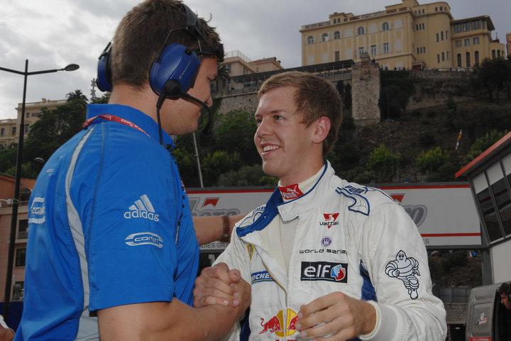 James Harris with Sebastian Vettel