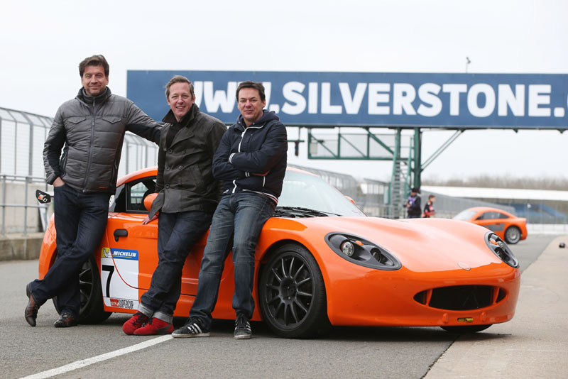 Nick Knowles, Tony Hirst and Dave Vitty with the Ginetta