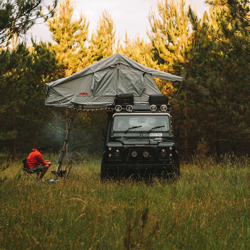 A Land Rover in the wilderness, its natural habitat.